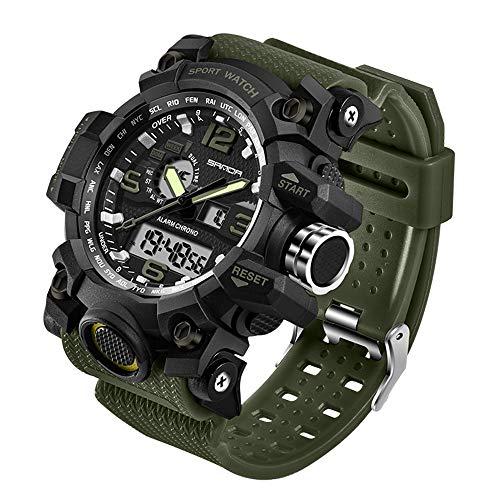 Taffstyle Herren-Armbanduhr Digital mit Silikon-Armband Chronographen Wasserdicht Stopp Alarm Flieger Piloten Uhr Sportuhr Quarz Olivgrün