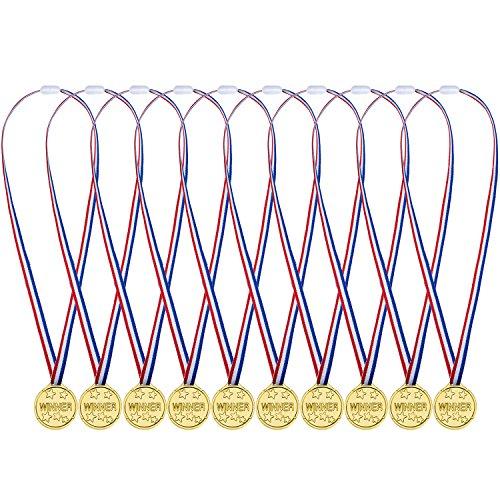 Pangda 48 Pezzi Plastica Winner Medaglie Oro Medaglie di Vincitore per Kid Sport Party, Concorrenza