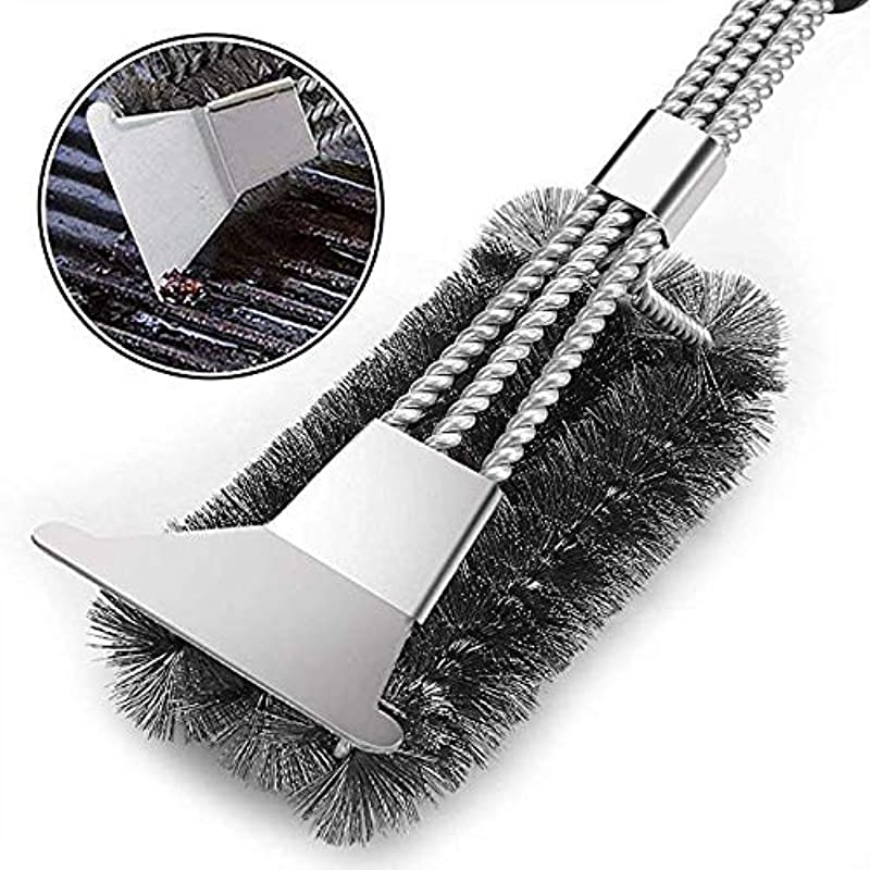 Vestaware Grill Brush Bristle Free 18 BBQ Grill Brush With 3 Rust Resistant Stainless Steel Scrubbing Coils To Clean Each Corner Barbecue Grill Cleaner Grilling Accessories Cleaner For Porcelain