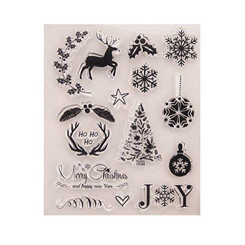 Tebatu DIY Silicone Clear Stamp Cling Seal Scrapbook Embossing Album Christmas
