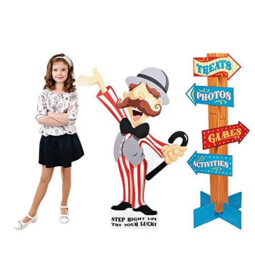 BirthdayExpress Carnival Games Room Decor - Ringmaster with Direction Signs Standup Scene Setter