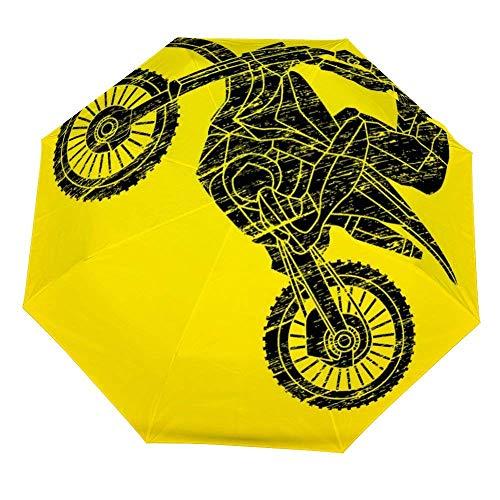 Faltbarer Regenschirm Motorrad Cross Jumping Freestyle Motocross Flyi Regenschirm Open Close Winddicht Regenschirm Leicht Kompakt Outdoor Regenschirm Sonne & Regen