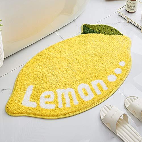 AZYJBF Alfombra Antideslizante Alfombra para Habitación de Niños Secado Rápido Flocado Forma de Limón Baño Cocina