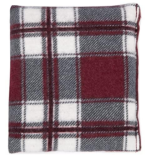 Cuscino di semi di colza, 12 x 12 cm, in flanella, colore rosso a quadri