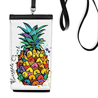DIYthinkerStrong Color Pineapple Tropical Fruit Phone Wallet Purse Hanging Mobile Pouch Black Pocket
