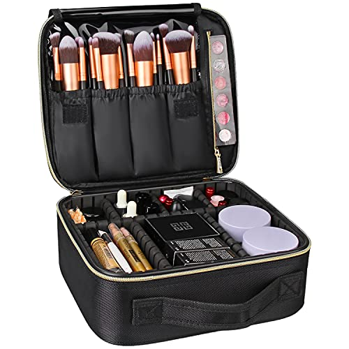 Travel Makeup Case,Chomeiu- Professional Cosmetic Makeup Bag Organizer,Accessories Case, Tools Case (Small, BLACK)