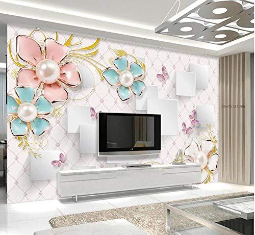 Couleur de perle fleur en trois dimensions papillon fleur damour 3D bijoux TV fond mur-200 * 140 cm