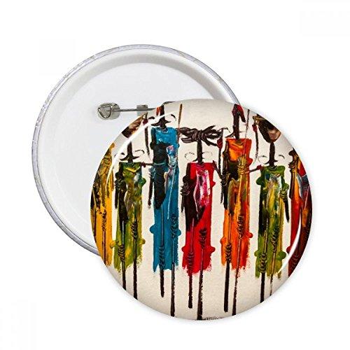 DIYthinker Botón Guerrero pernos redondos Placa primitivo aborigen del arte abstracto Negro ropa africana Decoración 5Pcs regalo XXL Multicolor