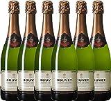 VINELLO 6er Weinpaket Schaumwein - Crémant Brut Blanc Excellence - Bouvet Ladubay mit Weinausgießer | prickelnder Crémant | französischer Schaumwein aus Val de Loire | 6 x 0,75 Liter