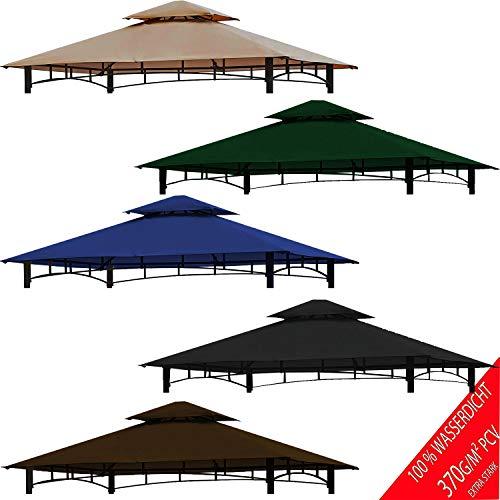 freigarten.de Ersatzdach für Pavillon Grill 2.4[m] x 1.5[m] Meter Sand Antik Pavillon Wasserdicht Material: Panama PCV Soft 370g/m² extra stark Modell 11 (Cappuccino)