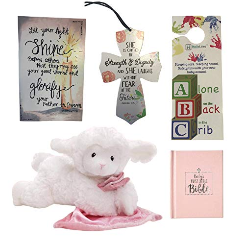 Baby Girl Baptism Gifts with Plush Lamb Crib Cross Baby Bible Gift Box and Card, Complete Baptismal Gifts for Baby Girls with Ultra Soft Lamb First Bible Hanging Crib Cross Decorative Box and Card