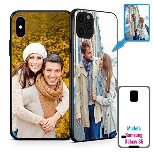 PixiPrints Foto-Handyhülle mit eigenem Bild kompatibel mit Samsung Galaxy S5 / S5 Neo, Hülle: TPU-Silikon in Schwarz, personalisiertes Premium-Case selbst gestalten mit flexiblem Druck