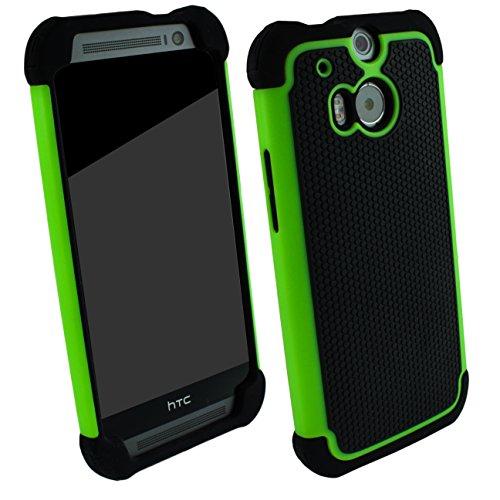 Outdoorschutzhülle für HTC ONE M8 Case inkl. Panzerglas 9H Outdoor Grün Cover Hybrid Schutz Hülle Sturz Bumper Folie Schwarz Black Green
