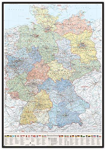 J.Bauer Karten Pinnwand im schwarzen Holzrahmen: Deutschland-Karte politisch Bundesländer, 80 x 120 cm, mit Wappen und Relief-Schummerung