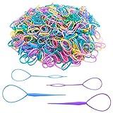 Kit de bandas de goma para el cabello de colores, SourceTon 2500 piezas de bandas de goma para el cabello con herramientas de cola de pelo Topsy para niñas pequeñas (mini bandas de goma)