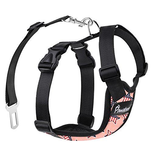 Pawaboo Hundegeschirr für Auto, Luftdurchlässig Hunde Geschirr mit Verstellbar Sicherheitsgurt und Universalstecker, passend für alle Hunderassen und Meisten Autotypen L-Groß, Rosa mit US Fahne