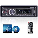 OiLiehu Single Din Car Stereo Bluetooth DVD Car Radio MP3 Multimedia Player support DVD/CD/USB/TF/FM/AUX-IN/Phone charge + Remote Control (without Battery)