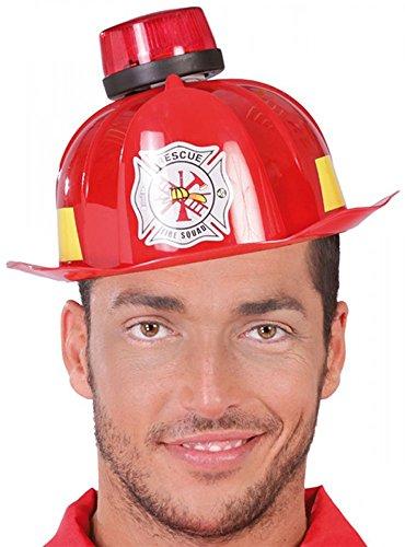 shoperama Feuerwehr-Helm mit Sirene Blinklicht und Ton Partyzubehör JGA Party Junggesellenabschied Kostüm-Zubehör