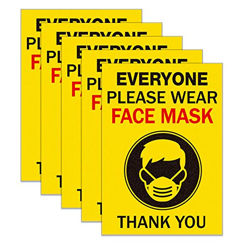 SICOHOME Face Mask Sign Stickers,5pcs, 5'x 7' No Mask No Entry Sticker,Wear Any Face Mask Safety Window Door Sign