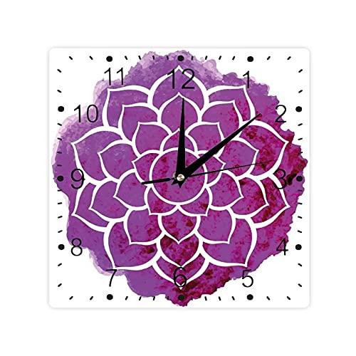 Acuarela Lotus Flower Yoga Meditación Boho Estilo Pincel Obra De Arte Color Cuadrado Morden Reloj Slient