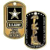 U.S. Army Fallen Heroes - Etiqueta para perro con cadena