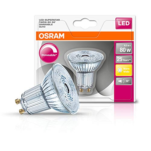 Osram LED SuperStar PAR16 Reflektorlampe, mit GU10-Sockel, dimmbar, Ersetzt 80 Watt, 36° Ausstrahlungswinkel, Warmweiß - 2700 Kelvin, 1er-Pack