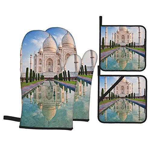 Ofenhandschuh und Topflappen 4er-Set,Schöne Taj Mahal Sonnenaufgang Licht Agra,Hitzebeständige Topfhandschuhe Non-Slip Kochhandschuhe für Kochen,Backen,Grillen
