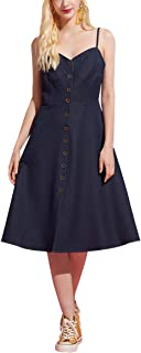 May You Be Women's Junior Denim Like Button-Down Cotton Dress