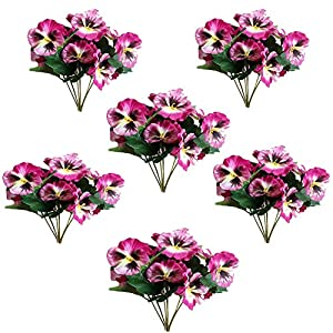 Silk Flower Arrangements Cratone 6Pcs Artificial Flowers Imitation Pansy Silk Flowers Creative Home Furnishing Simulation Plant for Wedding Home Outdoor Cemetery Party Decoration Size 26cm (G)