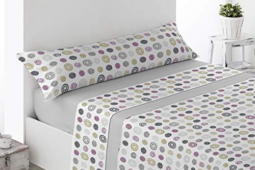 Energy Colors Textil - Hogar Juego Sábanas Completo Pirineo Polar 3 Piezas Pirineo Otoño - Invierno Doble Cara Calidad 150 Gr / Cm2 (Alhma Térmico Grey, Cama 135)