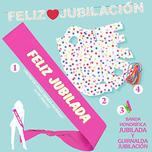 Inedit Festa - Fiesta Jubilación Banda Honorífica Feliz Jubilada y Guirnalda Feliz Jubilación