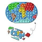 Young & Ming Sensorial Fidget Juguete Push Bubble Sensory Toy para Autismo Juguete Puzzles del Silicona Aliviador del Antiestrés del Juguetes para Niños Adultos (Mapa del Mundo)