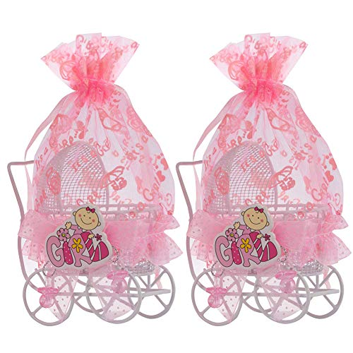 QILICZ Gastgeschenke Baby Taufe weiß Kinderwagen mit rosa Organzabeutel, 12 stück Mädchen Süßigkeit Schachtel Taufe Baby Candy Box für schower Babydusche Neugeborenen Baby-Partys Geburtstag