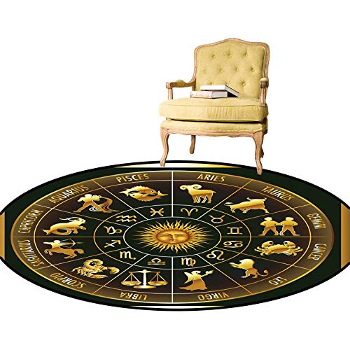 Carpet Wheel Zodiac Astrological Signs in Circle with Sun Moon Image in Circle Simple Modern Carpet/Round Rug Non-Slip, Family & Pet Friendly Dark Army Green Gold Diameter - 1.3 Feet