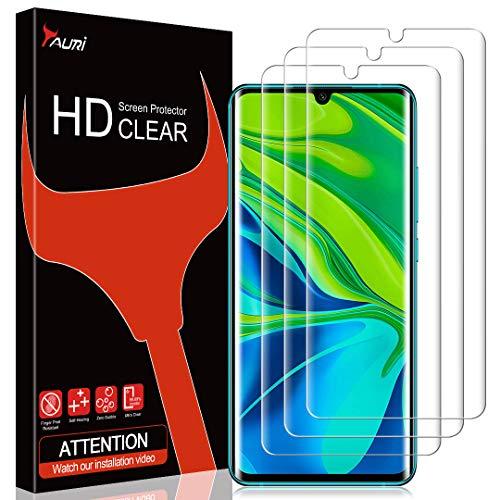 TAURI [3 Stück Schutzfolie für Xiaomi Mi Note 10 / Note 10 Pro, Bildschirmschutzfolie [Fingerabdruck-ID unterstützen] [Blasenfreie] [Klar HD] Weich TPU Folie