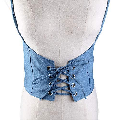 MxZas Riemchen Harness Crop Top Frauen-Denim-Stoff Verstellbare Körper Chest Harness-Gurt Lace-up Taillenschnürung Trainer Korsett Fancy Breite Taillengürtel Body Shaper (Color : Blue)