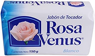 Jabon Rosa Venus Blanco Clasico 150 g / 5.29 oz Soap Bar Classic Bathing Natural Mexican smooth soothing gentle scent foaming shower and bath hand choose jabon tocador