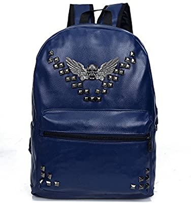 Bromeo Super Cool Leather Skull Angel Wings Remaches suave Pu Mochila Viajes Escuela de hombro informal bolso de los bolsos