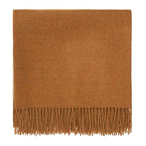 URBANARA Manta Arica 100% lana de alpaca bebé peruano - mostaza, 130 x 185 cm, manta de lana con flecos, manta de sofá, cama o silla