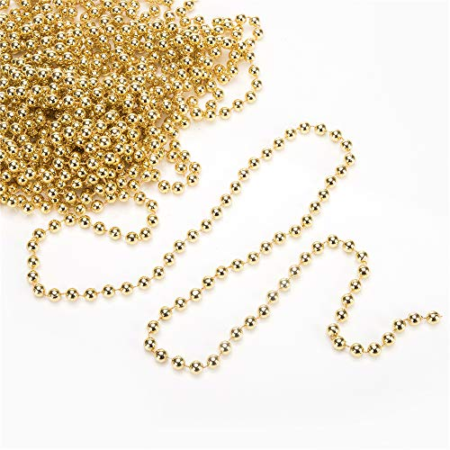 blitzlabs 33 Feet Christmas Beaded Garland Shiny Beads Strand for Christmas Tree, Valentine, Exhibition, Wedding, Costume, DIY Decoration Ornament Gold 8 mm Diameter