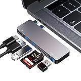 FLYLAND HUB USB C, Adaptateur de concentrateur de Type C, 3 Ports USB 3.0, Lecteur de Carte TF/SD, Alimentation USB-C, pour MacBook Pro 13 ″ et 15 ″ 2016/2017/2018,Macbook Air 13″ 2018(Gris)