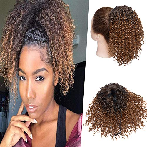 Hairro Afro Kinky Curly Ponytail Extensions Short Synthetic Hair 8 Inch Drawstring Deep Wave Puff Hairpieces for Black Women Ombre 1B/30 Auburn