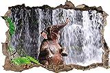 KAIASH 3D Wandsticker Babyelefant am Wasserfall Wanddurchbruch im 3D Look Wand oder Türaufkleber Wandsticker Wandtattoo Wanddekoration 62x42cm