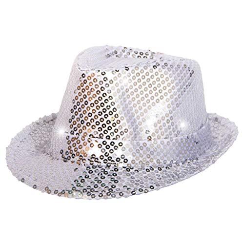 Folat 24071 Tribly Party Hut mit Pailletten und LED Beleuchtung, Unisex-Erwachsene, Silber, Einheitsgröße