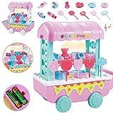 DIVISTAR Juguetes de juego de rol para niños DIY Mini helado/caramelo/fruta/verduras carrito de la compra con luz y música simulación juguetes para niños regalo - caramelo 13pcs - 1 juego