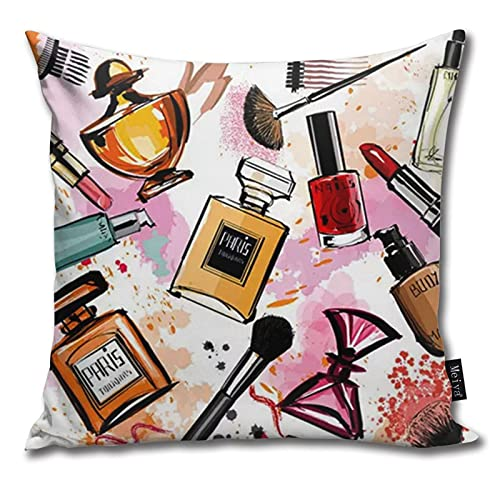 QUEMIN Watercolor Cosmetics and Perfumes Throw Pillow Covers Cases Decorative 18x18 Inch Two Sides Print Pillowcase Case Cushion Cover