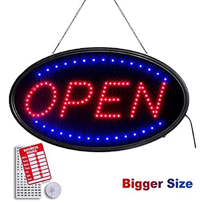 T-SIGN LED Open Sign,23x14 Inches Lighted Neon Open Sign Include Business Hour Sign and Suction Cup Hook, 2 Lighting Modes Electric AD Display Sign for Stores, Bars, Shops