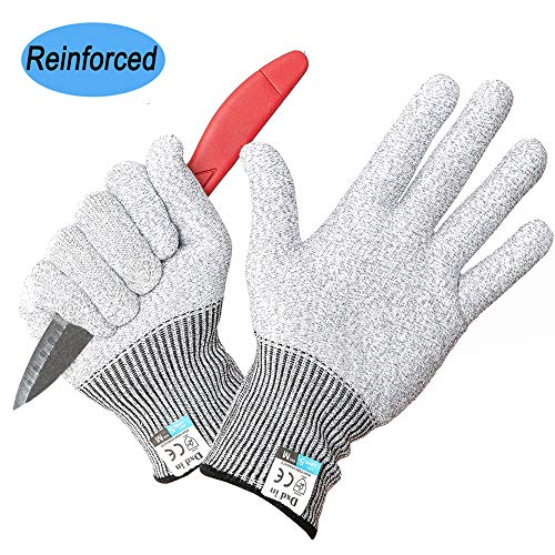 Cut Resistant Gloves Kitchen Safety Hand Protection Gloves Level 5 Cut Proof Glove HPPE Food Grade Material knitted with EN 388(Size S)