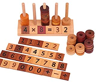 Agirlgle Wooden Montessori Toy Counting Toys for Kids Mathematics Math Toys, Counting Toys Number Blocks Shape Sorter Numb...