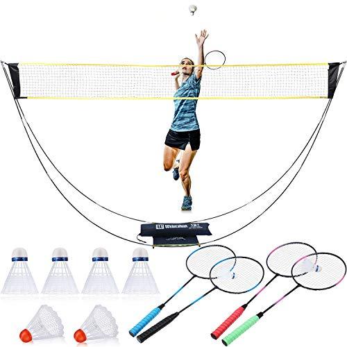 11-teiliges komplettes Badminton-Set, 3 m Tragbares Netz, 4 Schläger, 6 Federbälle für Anfänger, Familie, Ballspiele, Outdoor Teamsport